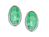 Original Star K Oval Genuine Emerald Bezel Set Small Earring Studs