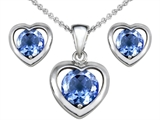 Original Star K Simulated Aquamarine Heart Pendant with Free Box Set matching earrings