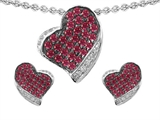 Star K™ Created Ruby Heart Shape Love Pendant With Matching Earrings style: 306251