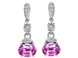 Original Star K Created Pink Sapphire 1.50 Inch Hanging Drop Earrings