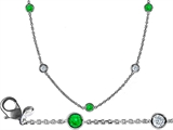 Original Star K 16 Inch Gems By The Yard Necklace With Round Simulated Emerald
