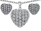 Original Star K™ Cubic Zirconia Puffed Heart Love Pendant with matching earrings style: 306257