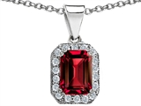 Original Star K™ Emerald Octagon Cut Created Ruby Pendant