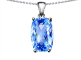Tommaso Design 8x6mm Cushion Octagon Cut Genuine Blue Topaz Pendant