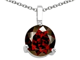 Tommaso Design Round Genuine Garnet Solitaire Pendant