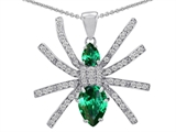Original Star K Spider Pendant With Pear Shape Simulated Emerald