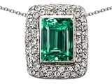 Original Star K Emerald Cut Simulated Emerald Pendant