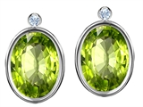 Original Star K Oval Genuine Peridot Earring Studs With High Post On Back