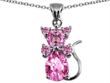 Original Star K™ Cat Pendant With Created Pink Sapphire style: 306274