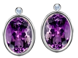 Original Star K™ Oval Genuine Amethyst Earrings Studs With High Post On Back style: 306275