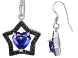 Original Star K Heart Shape Created Sapphire Black Star Hanging Hook Earrings
