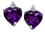 Original Star K™ 7mm Heart Shape Genuine Amethyst Earrings
