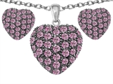 Original Star K™ Created Pink Sapphire Puffed Heart Love Pendant with matching earrings style: 306286