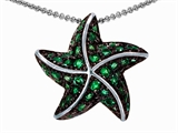 Original Star K Starfish Pendant With Round Simulated Emerald