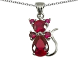 Original Star K Cat Pendant With Created Ruby