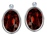 Original Star K Oval Genuine Garnet Earring Studs With High Post On Back