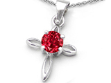Original Star K Round Created Ruby Cross Pendant