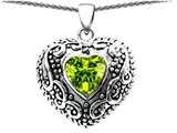 Star K™ Bali Style Puffed 7mm Heart Simulated Peridot Pendant Necklace style: 306300