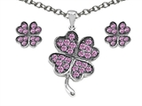 Celtic Love by Kelly Created Pink Sapphire Lucky Clover Pendant Box Set with matching earrings