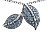 Star K™ Nature Lover Leaf Pendant Necklace with Simulated Aquamarine style: 306310