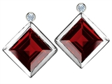 Original Star K Square 7mm Genuine Garnet Earring Studs With High Post On Back