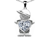 Original Star K™ Little Boy Holding 8mm Heart Mother Birthstone Pendant with Genuine White Topaz