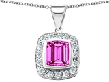 Original Star K™ Square Cushion Cut 8mm Created Pink Sapphire Pendant