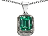Original Star K Bali Style Emerald Cut 10x8mm Simulated Emerald Pendant