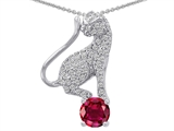 Original Star K Cat Pendant With Round 7mm Created Ruby