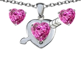 Original Star K™ Created Pink Sapphire Heart with Arrow Pendant Box Set with Free matching earrings