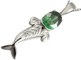 Original Star K™ Fish Pendant With Oval Simulated Emerald