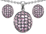 Star K™ Created Pink Sapphire Oval Puffed Pendant with matching earrings style: 306331