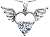 Original Star K Wings Of Love Birthstone Pendant with 8mm Heart Shape Genuine White Topaz