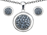 Original Star K™ Simulated Aquamarine Round Puffed Pendant with matching earrings style: 306334