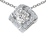 Original Star K Round Genuine White Topaz Pendant