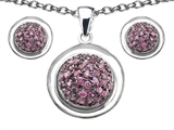 Original Star K™ Created Pink Sapphire Round Puffed Pendant Box Set with matching earrings