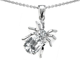 Original Star K Spider Pendant With 9x7mm Oval Genuine White Topaz