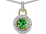 Original Star K Round 6mm Simulated Emerald Pendant