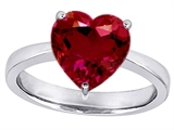 Original Star K Large 10mm Heart Shape Solitaire Engagement Ring with Created Ruby