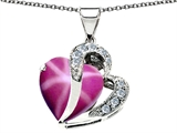 Original Star K Large 12mm Heart Shape Created Star Ruby Heart Pendant with Sterling Silver Chain