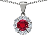 Original Star K Created Round Ruby Pendant