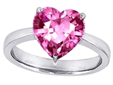 Original Star K™ Large 10mm Heart Shape Solitaire Engagement Ring with Created Pink Sapphire