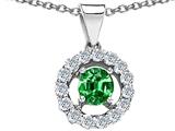 Original Star K™ Round Simulated Emerald Pendant style: 306360
