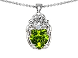 Original Star K™ Loving Mother And Hugging Family Pendant With Heart Shape 8mm Genuine Peridot