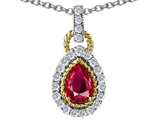 Original Star K Pear Shape Created Ruby Pendant