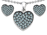 Star K™ Simulated Aquamarine Heart Shape Love Pendant with matching earrings style: 306370