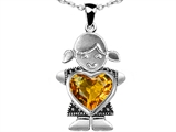 Original Star K Little Girl Holding 8mm Heart Mother Birthstone Pendant with Genuine Citrine