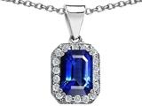 Original Star K™ Emerald Octagon Cut Created Sapphire Pendant style: 306372
