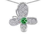 Original Star K™ Butterfly Pendant With Round Simulated Emerald