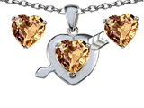Original Star K Simulated Imperial Yellow Topaz Heart With Arrow Pendant Box Set With Free Matching Earring